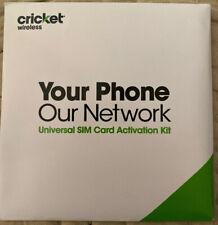 cricKet Universal Sim Card Activation Kit Triple cut New Sealed