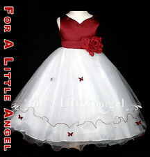 BURGUNDY FLOWER GIRL DRESS BUTTERFLY sz S 2 4 6 8 10