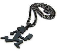 MENS SMALL HIPHOP BLACK HATCHET MAN STAINLESS STEEL PENDANT CUBAN CHAIN NECKLACE