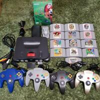 Nintendo 64 console with Expansion pak bundle + 4 controllers + 14 games set N64