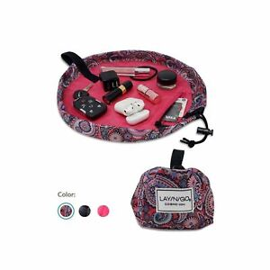 "Lay-n-Go COSMO Mini (13"") Travel Drawstring Essentials Makeup Bag, Easy Open OEM"