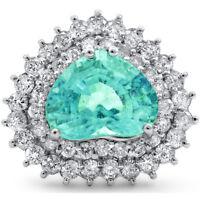 Certified 5.70cttw Paraiba Tourmaline 1.62cts Diamond 14KT White Gold Ring