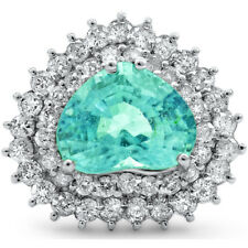 Certified 5.70cttw Paraiba Tourmaline 1.62cts Diamond 14KT White Gold Ring