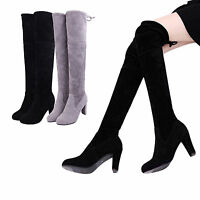 Women Thigh High Boots Over The Knee Lace Up Block High Heel Size Mid Block Heel