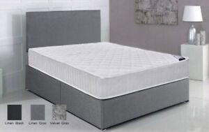 Velvet/Liene Divan Bed Base only with free Headboard 3FT 4FT6 5FT Double King
