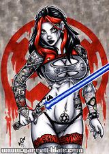COTN Sexy Tattoo Goth Sith Jedi STAR WARS Pinup Art 5x7 MINI-PRINT Garrett Blair