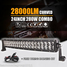 "22INCH 280W CREE CURVED LED WORK LIGHT BAR SPOT FLOOD COMBO LAMP 24"" / 23"" / 20"""