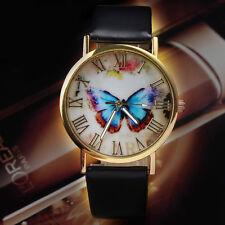 Butterfly Leather Strap Womens Ladies Fashion Watches Analog Quartz Wrist Watch