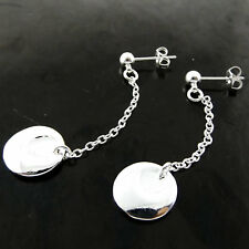 Earrings Real 925 Sterling Silver S/F Solid Ladies Stud Long Drop Dangle Design