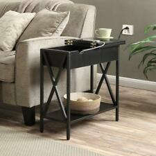 Accent End Table Side Shelf Lift Top Storage Style USB Outlet Living Room Black