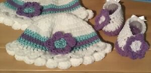 White, Turquoise And Purple Hand Crochet Hat & Booties, 3-6 Months
