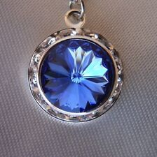 Swarovski Elements Crystal in Sapphire with Clear Rhinestones  Pendant Necklace