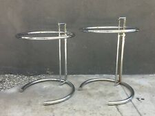 Vintage ORIGINAL PAIR of Eileen Gray Adjustable Chrome Side Table 1970's