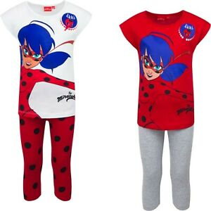 GIRLS Miraculous Ladybug & Cat Noir 3/4 LEG PYJAMAS PJs 4 sizes 2 COLOURS