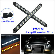 2PCS Car Daytime Running Lamp LED Flowing Light Strip Turn Signal White & Amber
