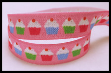 Pink Colorful Baked Goods Cupcakes Sweet Print FOE Ribbon  5/8