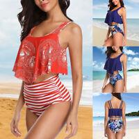 Womens Swimsuit Bathing Suit Bikini Set High Waist Push Up Padded Bra Swimwear