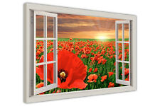 RED POPPY FIELD 3D WINDOW BAY VIEW CANVAS WALL ART PRINTS POSTER FLORAL PICTURES