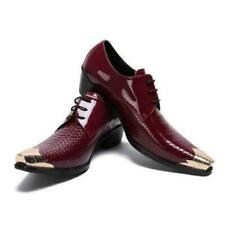 Brogue Mens Real Leather Business Pointy Toe Oxfords Wedding Red Leisure Shoes