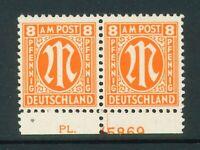 Bizone Mi-Nr. 5x als Paar - PL - Plattennummer ** postfrisch - Mi. 35,-