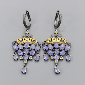 Tanzanite Earrings Silver 925 Sterling Handmade jewelry set  /E44044