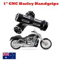 "CNC Billet Deep Cut 1"" 25mm handgrips Harley Sportster Dyna Softail Touring VROD"