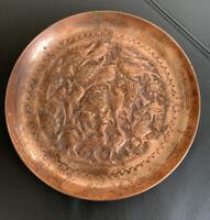 Vintsge Copper Decorative Plate Aviary Floral Birds