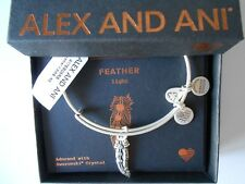 Alex and Ani FEATHER II Expandable Wire Bracelet Rafaelian Silver NWTBC