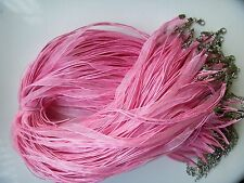 Wholesale Hot lot bulk 10pcs Fashion organza necklace cord pink 20 inches New