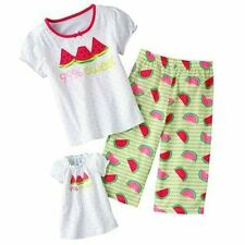 Watermelon Pj Set Girl Sz7+ Matching Gown For 18 in American Girl Dolls