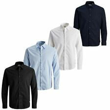 Jack & Jones Mens Shirts Long Sleeve Button Up Plain Smart Formal Office Shirt