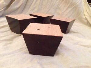 New 4x Dark Mahogany Wooden Furniture Feet, Sofas, Footstools, Chairs, Free P+P