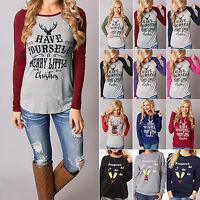 Women Xmas Long Sleeve T Shirt Sweatshirt Christmas Blouse Pullover Jumper Tops