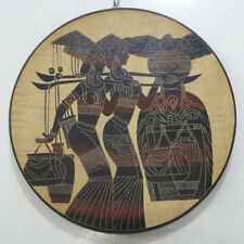 Hand Line Carved Painted ⌀30.7cm Wood Plate wall table decor - Carry Water Girls