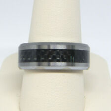 TRITON MEN'S 8.0MM COMFORT FIT TUNGSTEN  AND CARBON FIBER WEDDING BAND RING