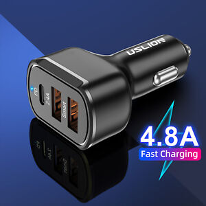 30W Dual Ports USB+Type-C PD 3.0 QC 4.0 Car Charger Adapter Quick Fast Charging