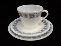 VINTAGE RETRO - PYREX 1960's  design CHELSEA - CUP, SAUCER & SIDE PLATE TRIO SET
