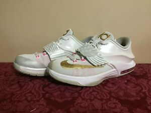 Nike KD 7 Aunt Pearl GS White Gold Pink Pure Platinum - Size 6Y (745407-176)
