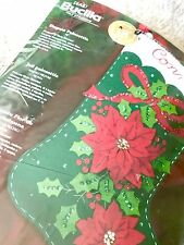 Bucilla Felt Christmas Stocking Kit Elegant Poinsettia 18""