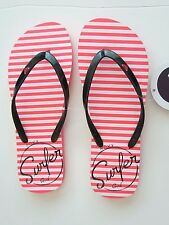 Roxy Women's Flip Flops Sandal Pink Black Melon III Surfer Girl Stripe 7/8/9