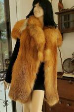 Sumptuous Real Natural Red Fox Fur Cap Sleeve Vest Coat Mid Length Jacket S M L