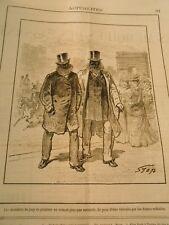 Caricature 1882 - Les memebres du jury de peinture ne sortant plus que masqués