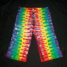 Tie Dye Capri Yoga Lounge Pants Rainbow Small Hand Tye Dyed Made in USA