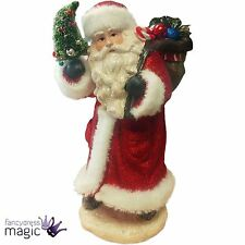 Gisela Graham Old Time Santa Red Glitter Father Christmas Decoration Ornament