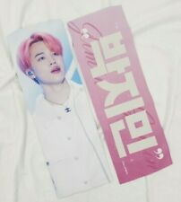 BTS Jimin fansite's white reflection slogan banner+2 deco stickers,3 photocards