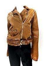 Giorgio Brato Lt. Brown Belt Zipper Leather Jacket 46 , ITALY