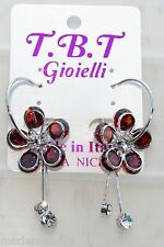 silver Orecchini con Fiori cristallo Cerchi da Donna Eleganti pendenti Rosso