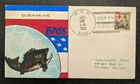1941 Hand Painted USS Bass Submarine Weigand Navy Yard Portsmouth NH Naval Cover