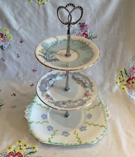 *BEAUTIFUL VINTAGE PASTEL BLUE FLORAL TEA SET BONE CHINA CAKE PLATE STAND*