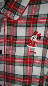 Medium Woman's Minnie Mouse Red Plaid Button Front Nightgown NWT Disney Store
